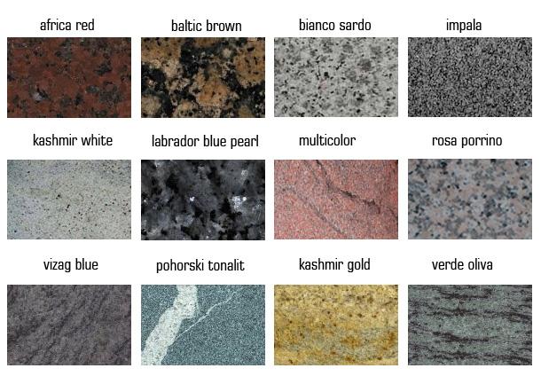 Tabela materialov granita iz nase ponudbe